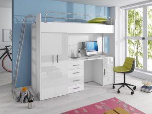 postelja s pisalno mizo in omaro raj 4d