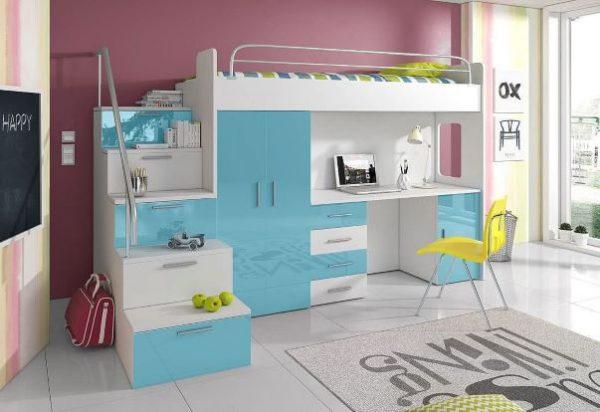 postelja s pisalno mizo in omaro raj 4s