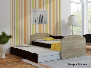 Postelja za dva otroka Wenge + Sonoma