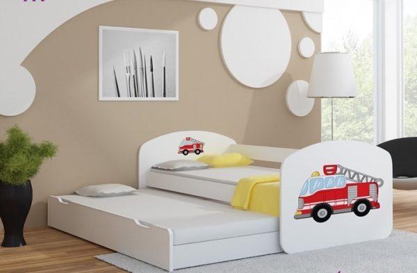 Postelja za dva otroka Gasilsko avto