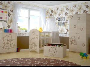 """Soba za dojenčke Standard """"Vgravirana Muca"""" natur"""