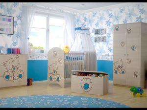 "Soba za dojenčke Standard ""Vgravirana Muca"" modra"