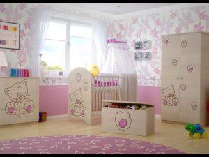 """Soba za dojenčke Standard """"Vgravirana Muca"""" roza"""