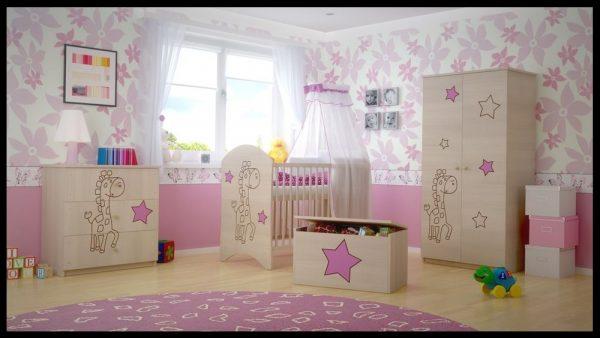 "Soba za dojenčke Standard ""Vgravirana Žirafa"" roza"