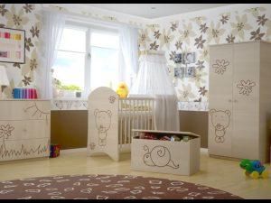 """Soba za dojenčke Standard """"Vgraviran Medvedek"""" natur"""