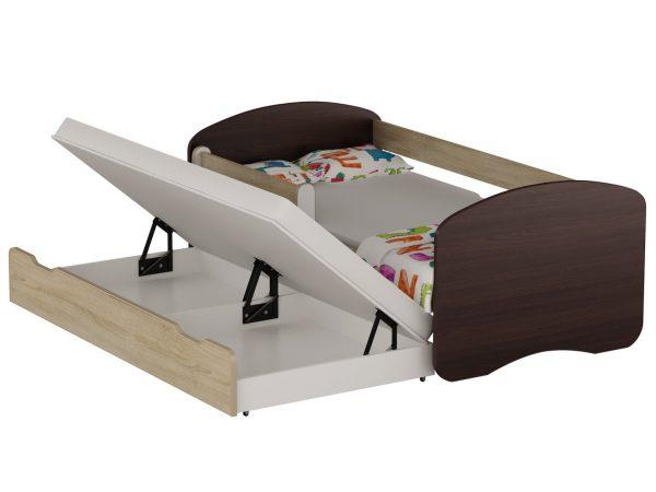 Postelja za dva otroka Sonoma+Wenge