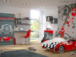 """Otroška soba """"rdeč"""" AVTO S_CAR 150x75"""